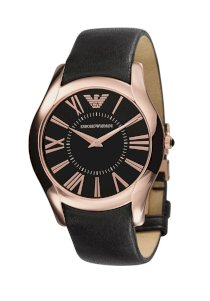 Armani Rose Gold Tone Black Dial Men's Watch - AR2043