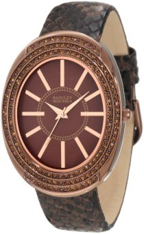 Badgley Mischka Women's BA/1195BMBN Swarovski Crystal Accented Large Brown Ion-Plated Oval Case Brown Python Print Leather Strap Watch