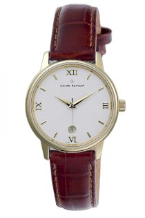 Claude Bernard Men's 70154 37J AID Classic Gents Gold PVD Brown Leather Date Watch
