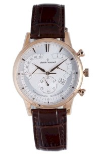 Đồng hồ đeo tay Claude Bernard Men's 01506 37R AIR Classic Rose Gold PVD Silver Dial Chrono Leather Watch