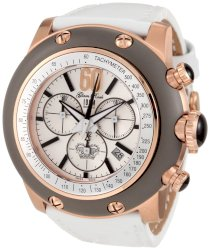 Glam Rock Women's GRD90124 Race Track Chronograph Silver Dial White Patent Leather Watch