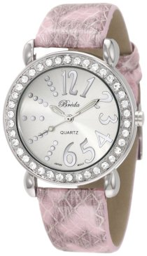 "Breda Women's 5151_pink ""Paige"" Rhinestone Bezel Python Leather Watch Watch"