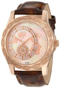 Brillier Women's 03-31325-04 Kalypso Rose-Tone Brown Leather Watch