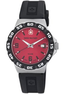 Swiss Military Calibre Men's 06-4R1-04-004 Racer Red Dial Black Rubber Watch