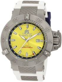 Invicta Men's 1588 Subaqua Noma III Yellow Dial White Silicone Watch