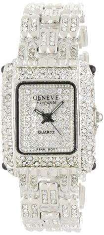 Geneve Elegante Men's 4383 - Silver Classic Rhinestone Encrusted Rectangular Watch