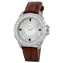 Geneve Elegante Unisex 5154 - brown Swarovski Crystal Leather Watch