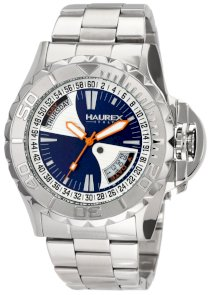Haurex Italy Men's 7A365UB1 Black Sea Blue Dial Day and Date Minute Track Steel Bracelet Sport Watch