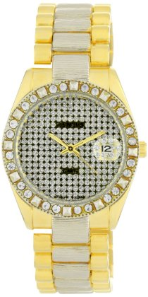 Geneve Elegante Men's GEN-5067_TT/Silv Classic Rhinestone Encrusted Bezel and Dial Watch