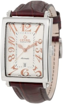 Gevril Men's 5005A Avenue of America Swiss Automatic Rose-Gold Brown Leather Watch