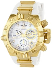 Invicta Women's 0536 Subaqua Noma IV Collection Chronograph 18k Gold-Plated Stainless Steel and White Polyurethane Watch