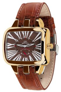 Gio Monaco Women's 217G-A Hollywood Rectangular Rose Gold PVD Brown Alligator Leather Watch