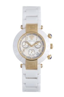 Versace Women's 95CCP1D497 SC01 Reve Mother-Of-Pearl Dial Chronograph White Ceramic Bracelet Watch