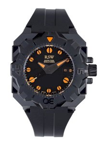 RSW Men's 7050.1.R1.18.00 Diving Tool Black Pvd Rotating Bezel Water Resistant Rubber Watch