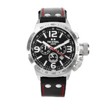 TW Steel Men's TW78 Canteen Black Leather Chronograph Dial Watch
