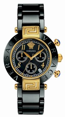 Versace Women's 95CCP9D008 SC09 Reve Black Dial Chronograph Black Ceramic Bracelet Watch