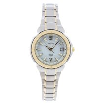 Seiko Women's SUT022 Two Tone Stainless Steel Analog with Silver Dial Watch