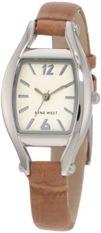 Nine West Women's NW/1227CMCM Silver-Tone Camel Brown Croco-Grain Strap Watch
