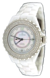 Le Chateau #5802 Women's Mid Size White Ceramic Watch with Crystal Bezel