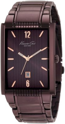 Kenneth Cole New York Men's KC9046 Classic Analog Brown Ion-Plating Rectangle Watch