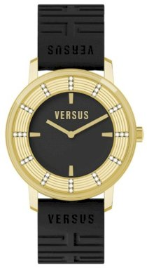 Women's Hollywood White Crystal Black/Gold Textured Dial Black Textured Rubber