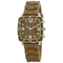 "Golden Classic Women's 2213-Brown ""Social Jelly"" Trendy Square Rubber Strap Watch"
