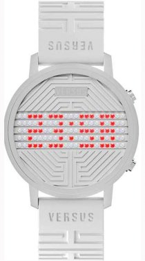 Versus Women's 3C70800000 Hollywood Digital Silver Dial with Crystals White Rubber Watch