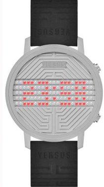Versus Women's 3C71100000 Hollywood Digital Silver Dial with Crystals Black Rubber Watch