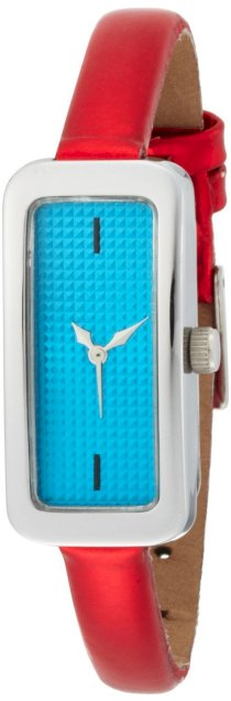 EOS New York Women's 28LREDBLU Cosmo Skinny Blue with Metallic Red Strap Watch