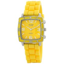 "Golden Classic Women's 2213-Yellow ""Social Jelly"" Trendy Square Rubber Strap Watch"