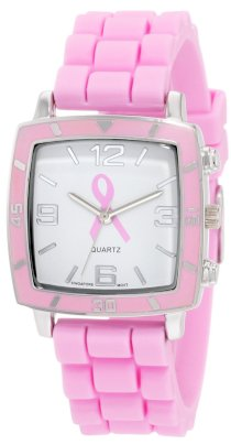 "Golden Classic Women's 2213-BC ""Social Jelly"" Square Bezel Pink Breast Cancer Awareness Silicone Band Watch"