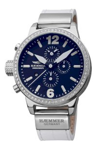 Haemmer Women's DHC-16 Secrets Crystal Bezel White Leather Chronograph Watch