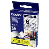 Brother TZ-111 6mm black on clear