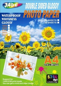 Jade Photo Paper Double side Glossy photo paper A4 5760dpi 220g 20 Sheets