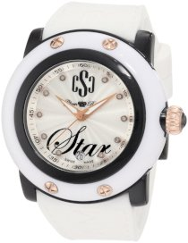 Glam Rock Women's GR63000 Miami Beach Diamond Accented Silver Textured Dial White Silicone Watch