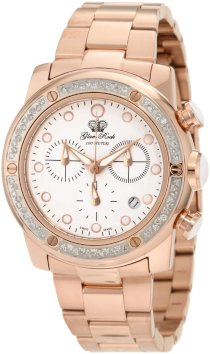 Glam Rock Women's GR50133D Aqua Rock Diamond Accented Chronograph White Dial Rose Gold Ion-Plated Stainless Steel Watch