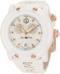 Glam Rock Women's GR61100-NSX Crazy Sexy Cool Diamond Accented Chronograph White Dial White Leather Watch