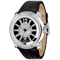 Glam Rock Women's GR10046 Miami Collection Diamond Accented Black Leather Watch