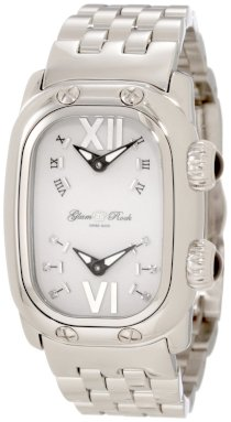 Glam Rock Women's GR72406 Monogram Diamond Accented Dual Time Stainless Steel Watch