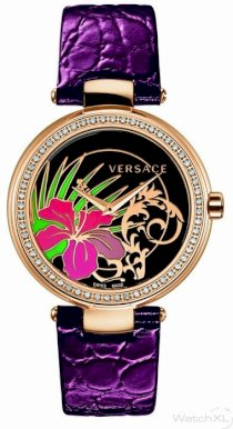 Versace Women's I9Q81D9HI S702 Mystique Rose Gold Ion-Plated Stainless Steel Violet Leather Band Diamond Watch...