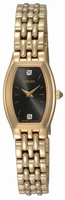 Seiko Women's SUJG18 Dress Gold-Tone Solid Stainless-Steel Case and Bracelet 2 Diamonds Charcoal Dial Watch