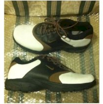 Men's Nike Size 11 Brown/White & Black Saddle Style Golf Shoes