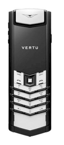 Vertu Signature S Black PVD, White Ceramic, Diamond Key, Black Leather