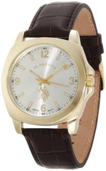 U.S. Polo Assn. Classic Men's USC50011 Analogue Silver Dial Leather Strap