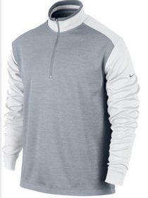 Nike Golf Dri Fit 1/2 Zip Cover Up Pullover Stadium Grey/White 509095 NWT