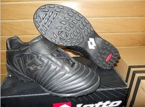 Lotto Serie A Referee Leather Turf Soccer Shoes Cleats Black 10604