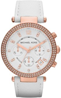 Đồng hồ Michael Kors Parker Chronograph Rose Gold-tone White Leather Ladies Watch MK2281