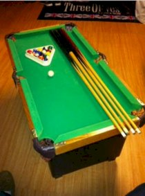 Vintage Miniature Billards Pool Table - All Solid Wood Excellent Condition