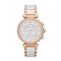 Đồng hồ nữ Michael Kors Parker Rose Gold-Tone White Acetate Watch MK5774