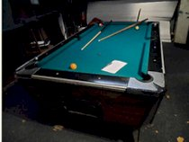 Vintage coin up bar pool table slate top with balls,cues, light